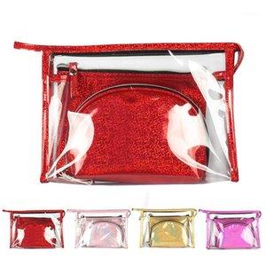 3pcs Travel PVC Cosmetic Bags Women Transparent Clear Zipper Laser Makeup Organizer Bath Wash Make Up Tote Handbags Case1
