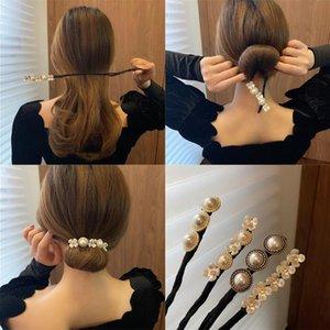 Леди Жемчужина раковины Цветочная шпилька складные волосы веревка свадебный банкетный вечеринку для волос с фиксированными аксессуарами женщины ювелирные украшения