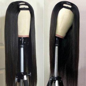 Lace Wigs U Part Brazilian Bone Straight Human Hair For Black Women Middle Shape Deep 150 Density Glueless