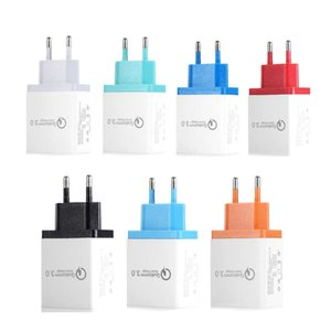 High Quality Q3.0 Quick Charger 3 USB Adapter US EU Plug Colorful Charging Wall Charger Plugs 3 Ports 2.1A 2.1A 3.1A for Smart Phone