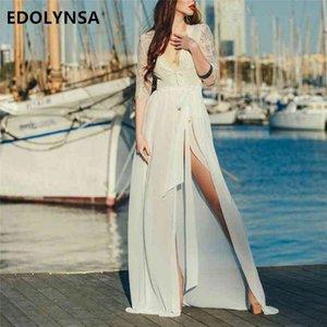 Элегантные кружевные пэчворки женские женщины пляжные платья сексуальные погружные шеи стирает самопожало сплит белый шифоновый бассейн вечеринка платье N655 210416