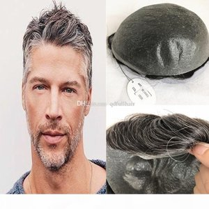 Grey Human Hair Mens Toupee Full Pu Men Wig Thin Skin Pu Toupee For Men Hairpieces Replacement Systems 10X8 inch Men Hair