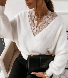 Fashion Sexy V-neck Lace Patchwork Plush Long Sleeve Top Women's Solid Color Sling Flannel Sweaters
