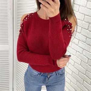 Women's T-Shirt Off Shoulder Long Sleeve Sexy Pearl Beading Knit Ribbed Slim Solid T Shirt Women 2021 Winter Autumn Knitted Pullover Top SJ6
