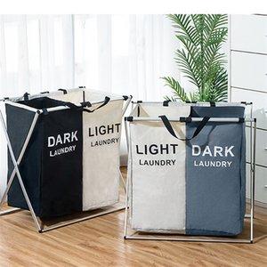 Pieghevole sporco lavanderia cestello Organizzatore x-forma stampata pieghevole a tre griglia Home Lavanderia Hamper Sorter Lavanderia Basket Large 509 S2