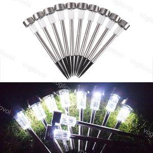 Lámparas de césped Luces de jardín solar de plata de acero inoxidable / ABS impermeable IP65 1LED Cálido blanco Multicolor Iluminación al aire libre para Parque Guía del hotel Decorar EUB