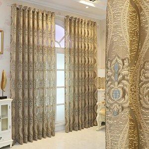 Вышитые золотые чистые шторы для гостиной Жаккардовые цветочные элегантный элегантный тюль салон вилла раздвижные двери лечение Драп шторы занавес