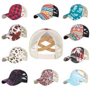 Plaid Leopard Print Ponytail Baseball Mesh Cap 15 styles Criss Cross Peak Net Hat Fashion Cotton Outdoor Sun Hats LLA641