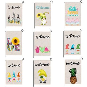 Stock DHL Summer Garden Flag Fruit Gnomes Double Size Printed Flax Decorative Hanging Welcome Summer Season Banner 32*47CM