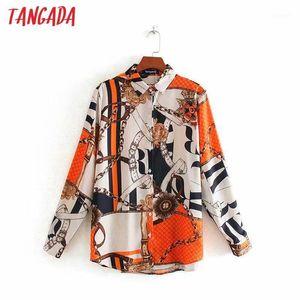 Tangada 2020 otoño mujer cadena impresión camisa blusa manga larga elegante femenino ocasional camisa suelta blusas femininas 4y31