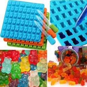 50 hole Gummy Bear Mold Silicone Cake Cookies Candy Dessert Chocolate Maker Mold Bear Gummy Candy Mold with Dropper HWF10191