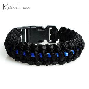 Keisha Lena Outdoor Travel Campsite Dunne Blue Line Black Veet Weave Plastic Gesp Paracord Survival Bracelet Police