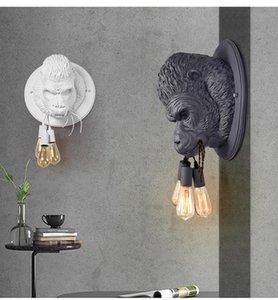 Wall Lamps Retro Nordic Modern Industrial Lamp Art Creative Living Room Corridor Aisle Resin Orangutan Lighting Decor Sconce Light