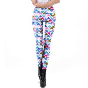 fish scale Women's digital printing Mermaid comfortable fit sports Yoga Pants Leggings