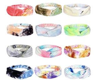 Party Saciosts Широкая Tie-Dye Ткань Yoga Оголовники Мода Спорт Спорт Креста Подушка Для Женщин Девушки Открытые Турбаны Аксессуары для волос