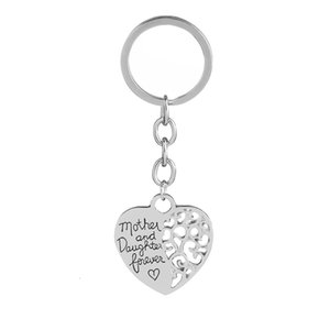 Keychains Mother and daughter forever love heart puzzle holder for cups hollow key chain pattern women jewelry
