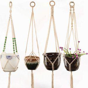 Pratsers Pots висит корзины Macrame Handmade растения вешалка цветок / горшок для крытого на открытом воздухе Boho Home Decoration Coundardard сад с деревянными бусинами xx7d