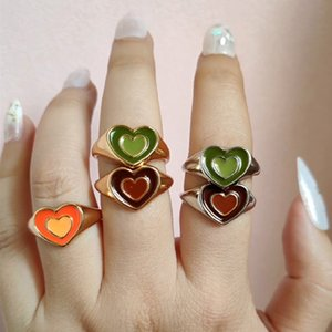 Ins Creative Cute Colorful Double Layer Love Heart Ring Vintage Drop Oil Metal Heart Rings For Women Girls Fashion Jewelry