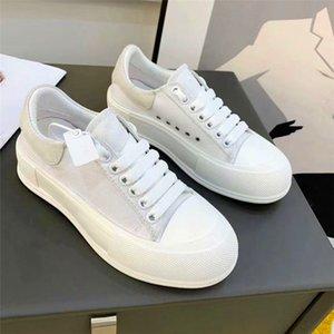 Фирменные полотно платформы обувь роскоши дизайнеры женские кроссовки замшевые сращивание негабаритных ботинок белый широкий шнурок с низким вырезом с коробкой