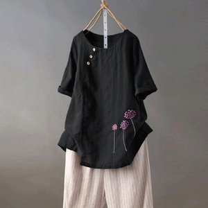 Women's Blouses & Shirts Women Cotton And Linen T Shirt Floral Embroidery O-Neck Button Casual Tops Tee Summer Loose Tshirt