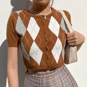 Dressed Heyoungirl Vest Argyle Top Crop Women Shirt Preppy Style Korean Short Mouwen Plate T-shirt Ladies Y2K 90S knitwear