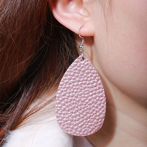 Trendy Waterdrop PU Leather Dangle Earrings Simple Double Sides Printing Teardrop Earring For Women Jewelry Gift