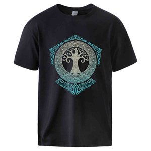 T-shirt Vikings T-shirts pour Man Yggdrasil Norse Mythologie Été Coton T-shirts T-shirts Homme Casual manches courtes Crewneck Streetwear