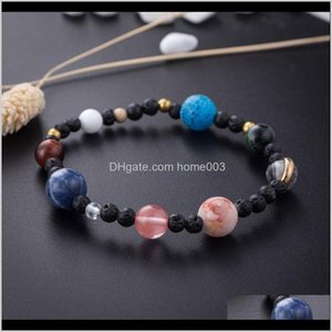 Beaded, Strands Bracelets Jewelry Drop Delivery 2021 Universe Galaxy Nine Planets Guardian Star Natural Stone Solar System Beads Bracelet Ban