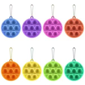 Runde Pop es fimzig Spielzeug Pendent Sensory Push Bubble Board Spiel Spielzeug Charme Angst Stress Reliever Kinder Erwachsene GWC7453