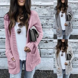 Autumn Winter Batwing long Sleeve Knitwear Cardigan Women smooth Knitted Sweater pocket design Cardigan Female Jumper Coat pink