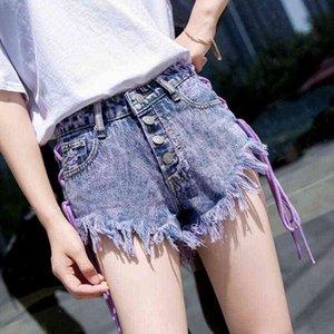 Bella Philosophy Female Bandage Side Drawstring Denim Shorts High Waist Sexy Shorts Summer Micro Mini Jean Denim Short Mujer 210419