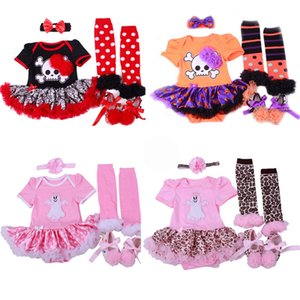 Newborn Girls Romper Suit Infant Baby Halloween Theme Clothes Kids Casual Lace Bow-Tie Dot TUTU Dress Headband Sock Shoes Set 06