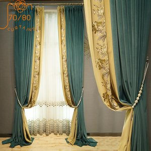 Curtain & Drapes High-end Luxury European Style Flannel Embroidery Stitching Blackout Curtains For Living Room Bedroom Customization
