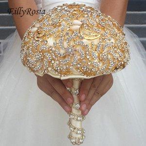 Wedding Flowers EillyRosia Luxurious Bouquet Set Corsage Boutonnieres Sequins Rhinestones Brooch Jewelry Bridal De Novia