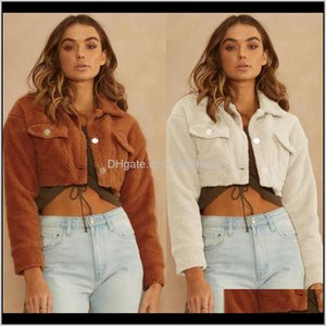 Fur & Coats Womens Clothing Apparel Drop Delivery Women Faux Lambswool Jacket Crop Top 2021 Autumn Winter Coat Turn-Down Collar Pocket Casual