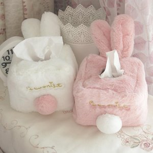 Tissue Boxes & Napkins Box Cover Sweet Pink White Plush Durable Home Car El Paper Holder Kitchen Organizer