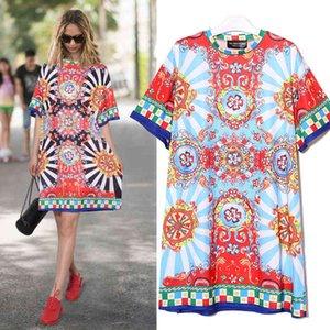 2021 الصيف النساء الأسود الأزرق الأزهار المطبوعة شاطئ اللباس زائد حجم السيدات لطيف مستقيم فستان الشمس ميدي عارضة الشمس اللباس رداء 2162