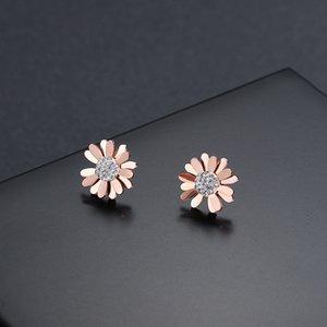 Kore Yeni Gül Altın Titanyum Çelik Çiçek Küpe