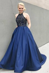 Halter Bling Navy Blue A Line New Evening Dress with Pockets Crystal Beaded Satin Party Formal Prom Gowns Custom Made Gorgeous
