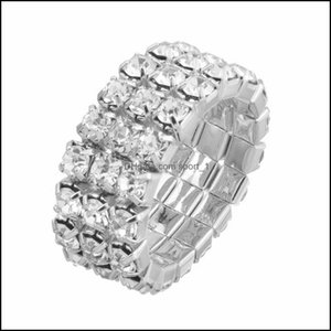 Cluster Jewelryfashion Colorf Crystal Rhinestone Adjustable Rings Sparkling Shiny 3 Rows Elastic Ring For Women Bridal Wedding Jewelry Drop