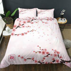 Pink Cherry Blossoms Bedging Set Японский стиль романтическая тема ботаническая цветочная напечатанная пододеяльник для женщин / девочек / пара