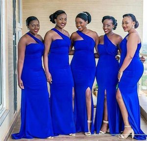 2021 African Sexy Bridesmaid Dresses Wedding Guest Dress One Shoulder Royal Blue Side Split Elastic Satin Mermaid Party Maid of Honor Gowns