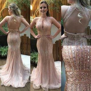 Luxurious Mermaid Evening Dresses Major Beading Halter keyhole Neck Celebrity Vestido de festa Formal Prom Gowns Robe Soiree