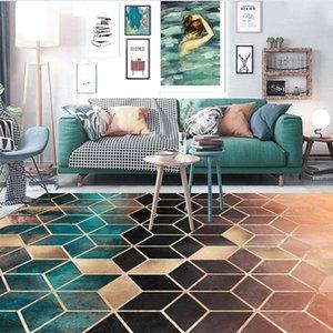 Fashion Nordic Gradual Shading Green Golden Diamonds Print Door Kitchen Mat Living Room Bedroom Parlor Area Rug Decor Carpet 467 V2