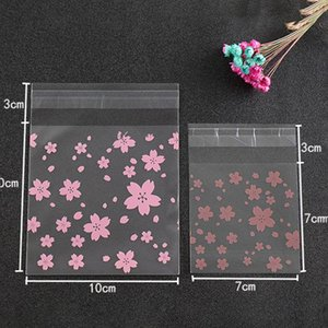 100Pcs Set Lovely Sweet Pink Cherry Blossoms Printed Cookie Candy Bag Self-Adhesive Plastic Biscuits Snack Baking Package Holder Gift Wrap