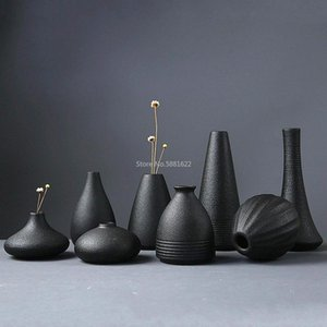 Modern 8 Style Black Ceramic Flower Arrangement Small Vase Home Decoration Tabletop Ornament Crafts Vases