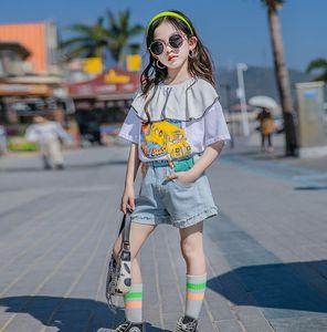Summer Girls cartoon Printed Short Sleeve T-shirt 2021 Designer style children falbala lapel casual Tee fashion kids cotton tops A6436