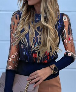 Sexy Women Mesh Sheer Puff Sleeve Jumper Shirt Blouses Embroidery Floral See Through Knitwear Tops Blouse Women's & Shirts