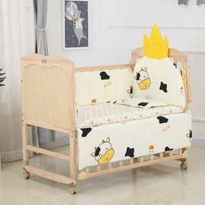 5Pcs 110*56CM Newborn Baby Bedding Set For Girl Boy Crib Bumper Protector Crown Design Baby Bed Bumper Bed Sheet Pillowcase