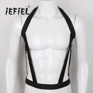 iEFiEL Men Lingerie Nylon Halter Elastic Body Chest Harness Bondage Hollow Out Costumes Belt for Nightclub Party Performance1